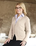 Tri-Mountain LB923 Claire-Women's 100% Cotton Long Sleeves Cable Sweater Cardigan.