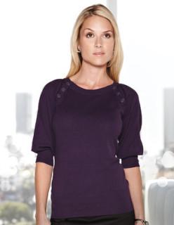Tri-Mountain LB925 Emma-Women's 100% Cotton + 70 D/L Nylon Knit Elbow Sleeve Sweater