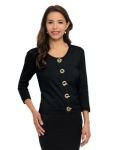 Tri-Mountain LB933 Vivienne-Women's 82% Cotton/18% Nylon 3/4-Sleeve Crop Sweater Cardigan.