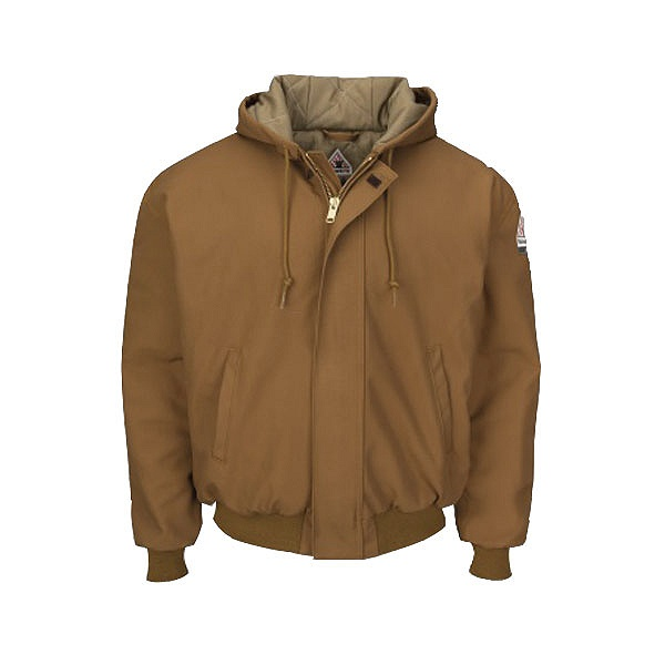 Bulwark® JLH6 Brown Duck Hooded Jacket with Knit Trim