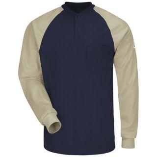 1.107 SEL4 Long Sleeve Color-Block Tagless Henley Shirt - EXCEL FR