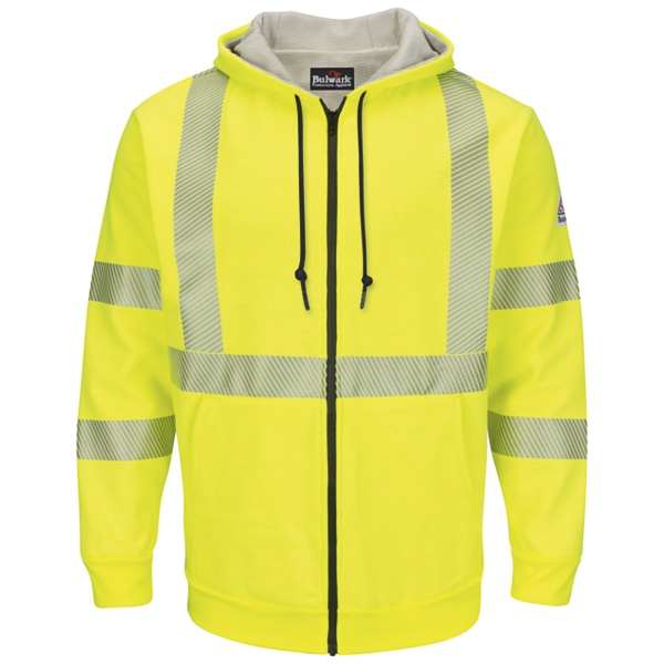 Bulwark® SMZ4 Hi-Visibility Zip-Front Hooded Fleece Sweatshirt with Waffle Lining