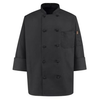 Chef Designs 0427 Spun Poly Black Chef Coat
