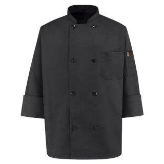 Chef Designs KT76 Eight Pearl Button Black Chef Coat