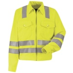 "Red Kap JY32 Hi-Visibility Ike Jacket - Class 3 Level 2 X"" Striping Configuration"""
