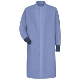 Red Kap® KS60 Gripper-Front Spun Polyester Pocketless Butcher Coat with Knit Cuffs