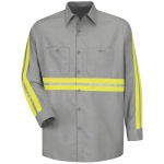 Red Kap SP14 Enhanced Visibility Industrial Work Shirt - Long Sleeve