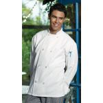 Wolfmark Neckwear CC-0400 Basic White Chef Coat with 8 Pearl Buttons