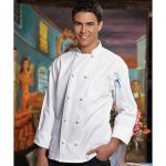 Wolfmark Neckwear CC-0403C Classic White 100% Cotton Chef Coat with 10 Knot Buttons