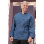 Wolfmark Neckwear CC-0405C Chambray Blue 100% Cotton Chef Coat with 10 Black Buttons