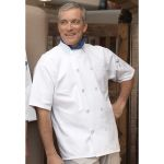 Wolfmark Neckwear CC-0415 Classic 1/2 Sleeve Chef Coat with 10 Black Buttons