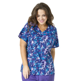 Wink Scrubs 6115 Printed Curved V-Neck Top