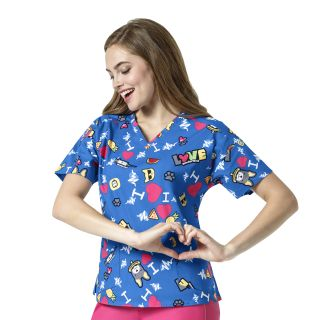 Wink Scrubs 6187 Women's V-Neck Print Top