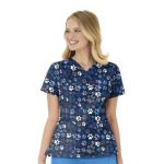 Wink Scrubs 6417 Y-Neck Multi Pocket Print Top