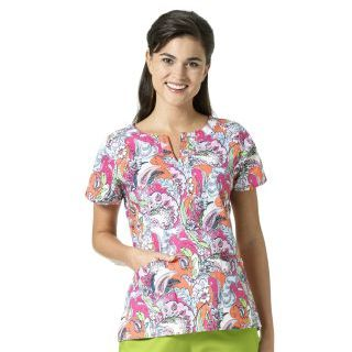 Wink Scrubs V6207 LINDA Notch Neck Print Top
