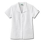 White Swan 14359 Fundamentals Ladies Zip Front Wing Collar Top