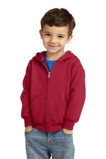 SanMar Port & Company CAR78TZH, Port & Company® Toddler Core Fleece Full-Zip Hooded Sweatshirt.