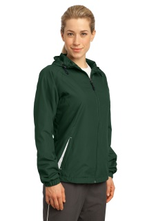 SanMar Sport-Tek LST76, Sport-Tek® Ladies Colorblock Hooded Raglan Jacket.