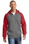 SanMar Sport-Tek ST269, Sport-Tek® Raglan Colorblock Full-Zip Hooded Fleece Jacket.